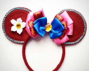 Mulan inspired Minnie Mouse Ears Headband Princess/Flower/Pink/burgundy/maroon/mushu/birthday