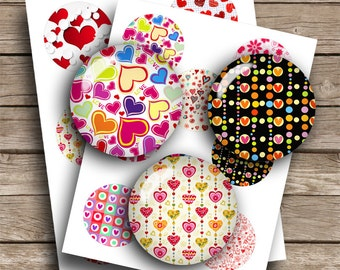 Heart Patterns Pinback button Images 1.75 inch for 2.088 buttons Digital Collage Sheet Instant Download