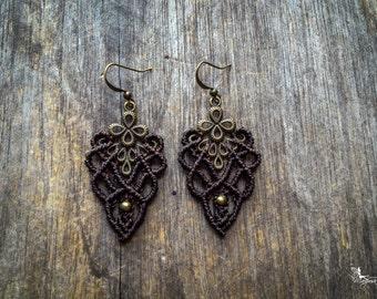 Macrame bohemian chic elven earrings boho jewelry by Creations Mariposa micro macrame