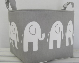 Fabric Organizer Bin Toy Storage Container Basket - White Ele Elephant on Gray Fabric  - 8 in x 8 in x 8 in - Nursery Baby Room Decor