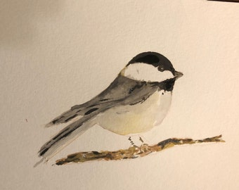 Chickadee watercolor original bird art