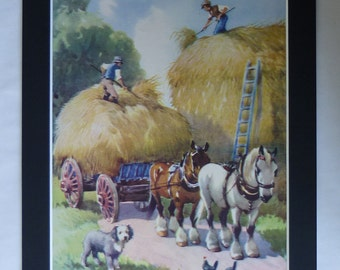 1950s Vintage Haymaking Print, Available Framed, Farm Art, Rural Gift for Farmer, Hay Making Wall Art, Haystack Decor, Rustic Country Scene