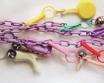 Vintage Plastic Bell Charm Necklace 11 Multi Color Charms
