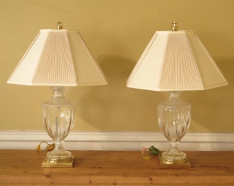 F44522EC: Pair CHELSEA HOUSE Italian Crystal Urn Table Lamps