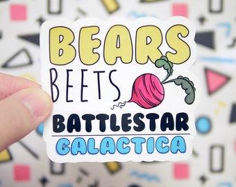 Bears, Beets, Battlestar Galactica  Sticker - The Office Sticker - Michael Scott Dwight Schrute - Notebook Stickers - Tumblr - S109