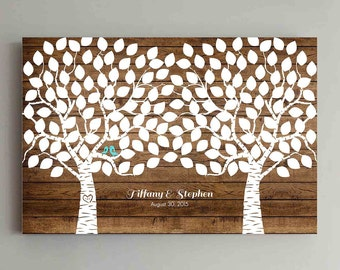 150 Guest Wedding Guest Book Wood Two Double Tree Wedding Guestbook Alternative Guestbook Poster Wedding Guestbook Poster - Wood design