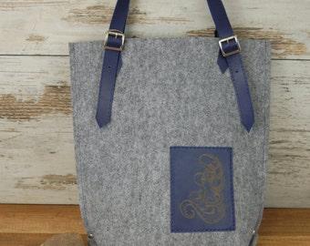 Felt vertical tote bag Casual bag Handbag shoulder bag with leather handle & laser decoration