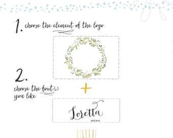 Aquarell Kranz Blumen Logo Mandala Logo Custom Logo Design Website Logo Blog Logo Brandstempel Boutique Logo Spa Logo Salon Logo Yoga Logo