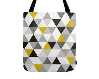 Geometric tote bag geometric bag triangles tote bag geometric canvas tote black and yellow bag mid-century tote bag mid-century bag teal bag