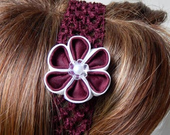 White/plum kanzashi flower headband