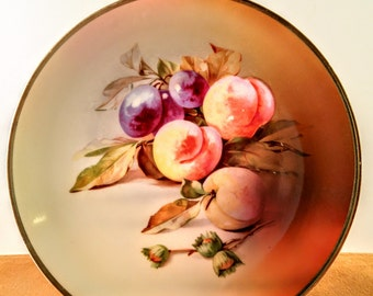 Antique J & C Made in Germany Porcelain Plate with Hand Painted Peaches, Plums and Nuts. Decorative Plate. Kitchen and Dining Room Decor.
