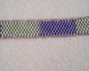 Purple & Green peyote bracelet