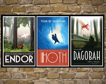 STAR WARS Set of 3 Travel Poster Vintage Print Wall Art Empire Strikes Back Return of the Jedi Room Decor