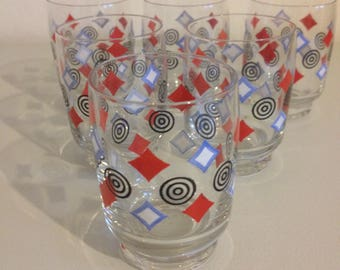Schnapps glasses, with Designaufruck, vintage