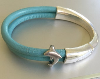 Silver Half Cuff and Dolphin Leather Bracelet
