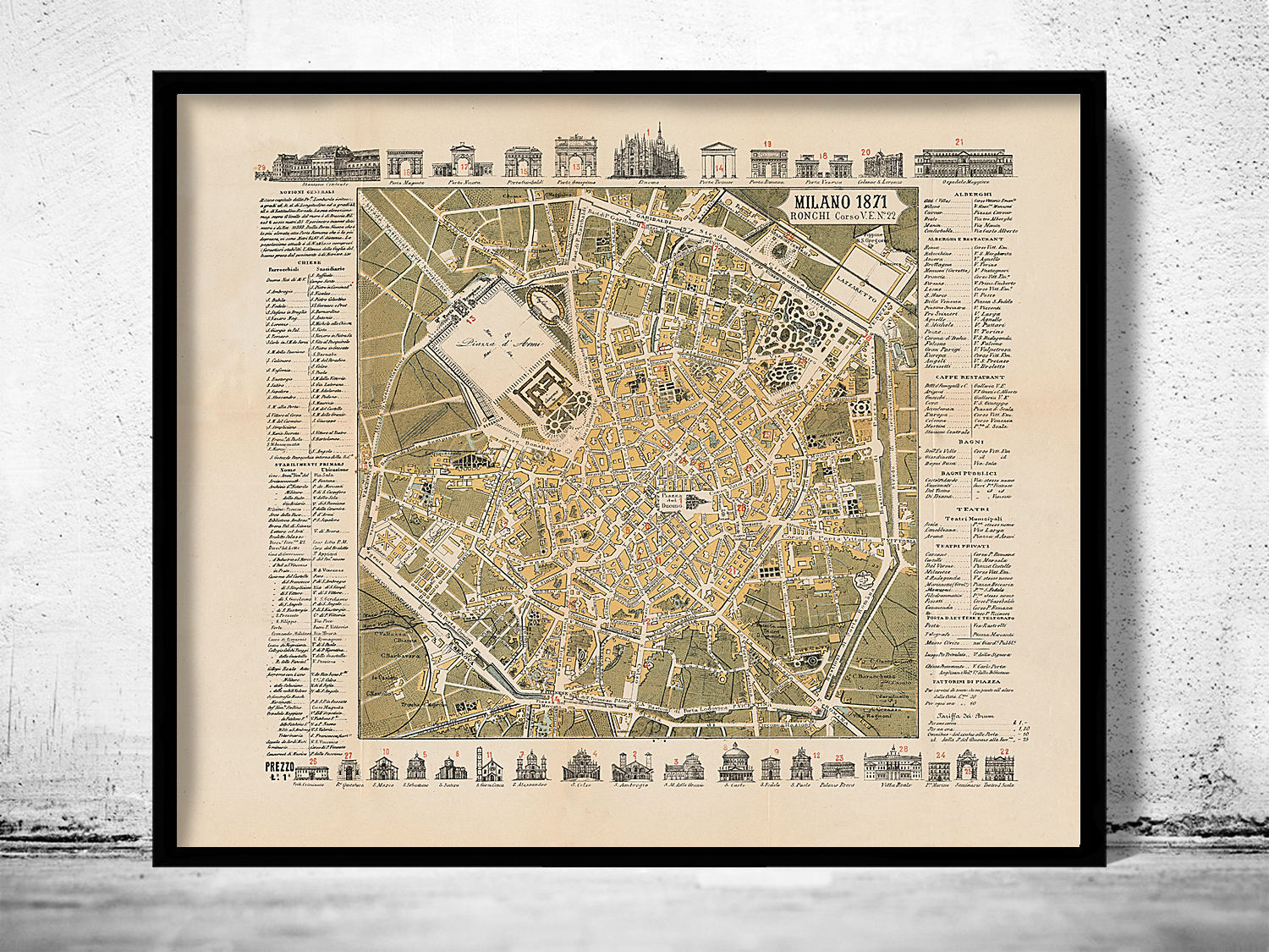 Old map of milan milano 1871 italy zoom gumiabroncs Image collections