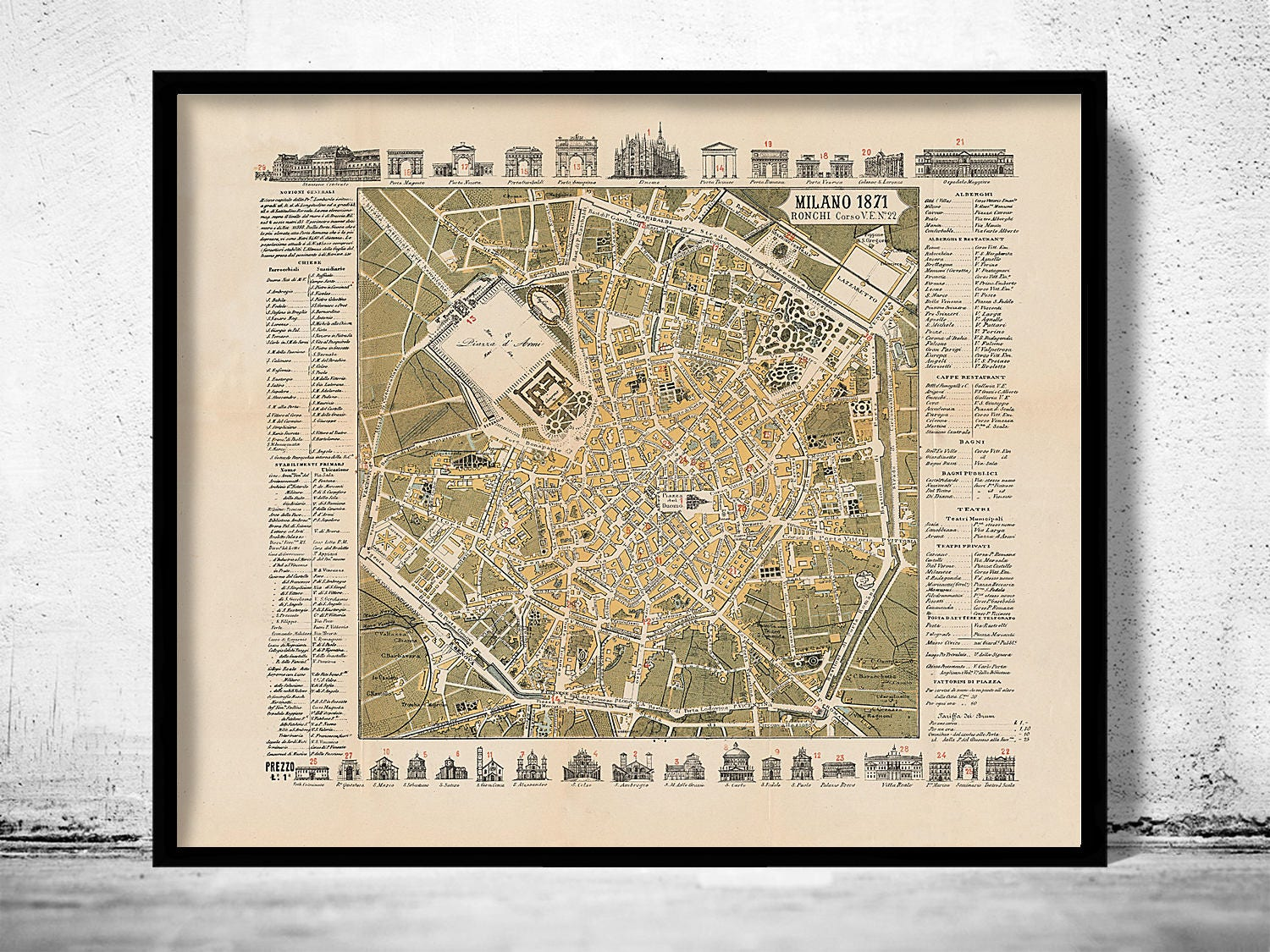 Old map of milan milano 1871 italy zoom gumiabroncs Choice Image