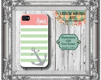 Preppy Anchor Stripe Monogram iPhone Case, Personalized iPhone Case, iPhone 4, iPhone 4s, iPhone 5, iPhone 5s, iPhone 5c, iPhone 6