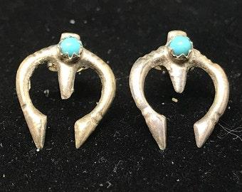 Vintage Navajo Sterling Silver Naja Earrings with Snake Eye Turquoise