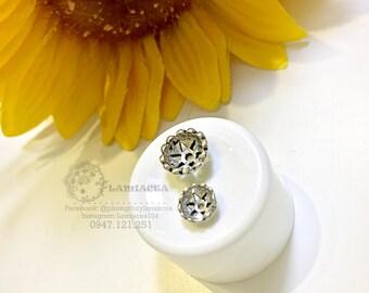 Silver charm s925 7mm, 9mm thai silver diy torus S925 silver crafted flower torus bead caps 2242976 / 2242977