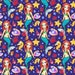 Ocean world mermaid print fabric on purple background, sewing supply quilting cotton mermaid fabric by 0.5 yard