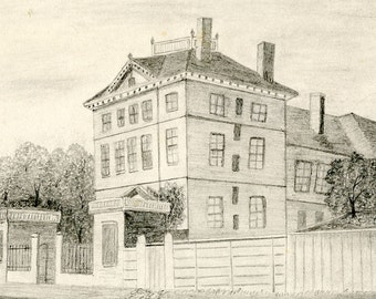 Portsmouth, New Hampshire, Historic, Rockingham House, 19th Century, Original Drawing, & Silverplate, Crumb Catcher