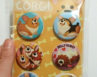 Corgi Buttons, cute corgi pins, corgi lover gift, pinback buttons, pembroke welsh corgi, dog lovers, corgi gift, corgi art, thorgi