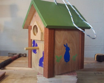 Decorative birdhouse, hand painted with various animals