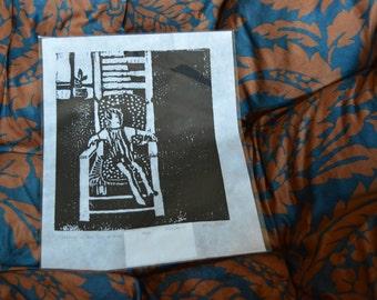Boy on Chair original woodblock print