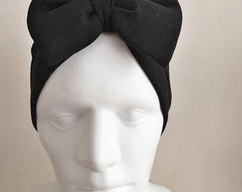 Turban with Bow - Black Hair Wrap in Jersey -Turban Headband /Bohemian Turban Hat-Black Headwrap-Can be used in two ways