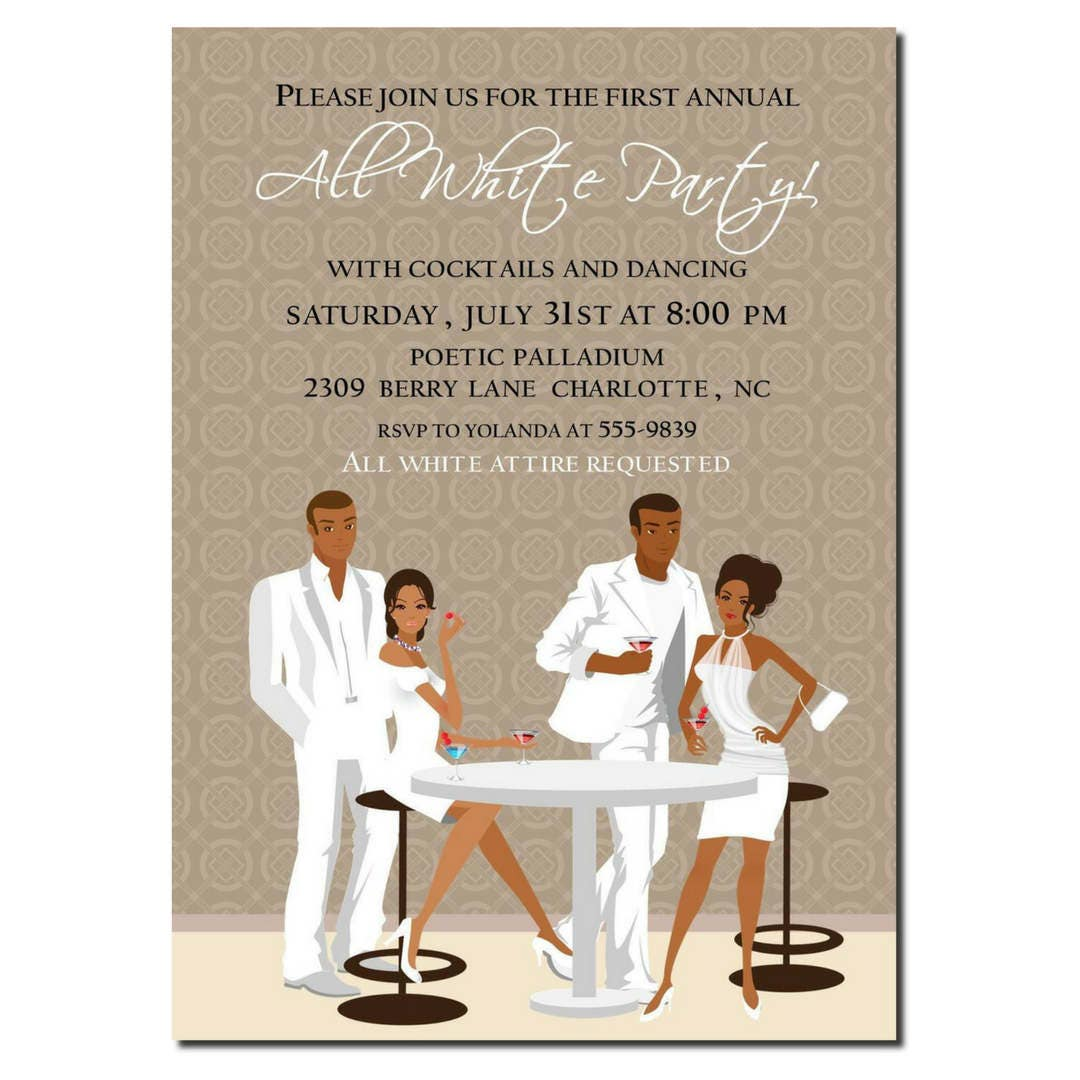 African American All White Party Invitation African American