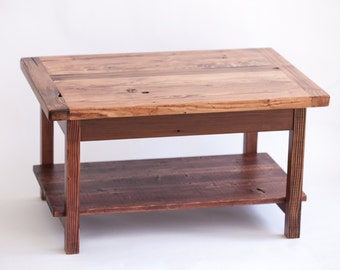 Small Reclaimed Wood Coffee Table with Shelf