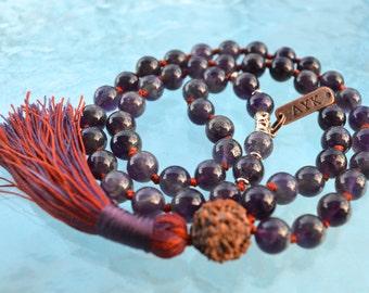 Rudraksha and 10 mm Amethyst Hand Knotted Mala Beads Necklace, 54+1 Amethyst Mala Bead Necklace, Energized 108 Genuine Amethyst  Mala Beads