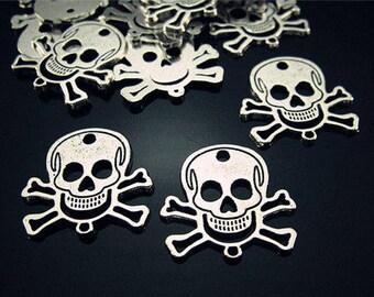 Skull Charms, Skull Pendants, Silver Skulls, Jewellery Skulls, Skull Crossbones, Horror Charms, Pirate Charms, Death Charms, Zombie