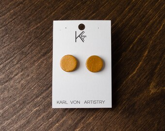 """Leather Earrings - Gold Circle (1/2"""") post, gift for her, birthday gift, lightweight"""