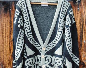 Vintage Grandpa Cardigan Sweater Intaria Celtic Knot Knit