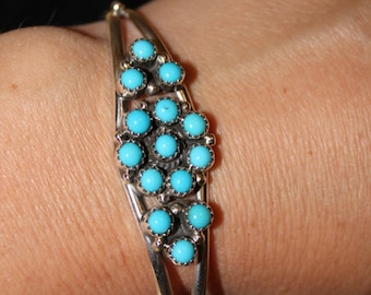 Sterling Silver and Turquoise Cluster Cuff