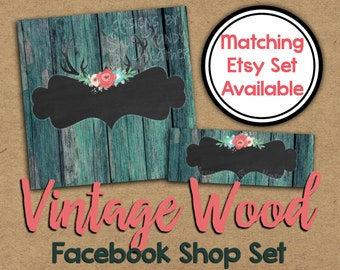 Facebook Shop Set - Vintage Wood Timeline Cover - DIY Shop Set - Antler Facebook Timeline Cover - Vintage Facebook Banner - Facebook Banner