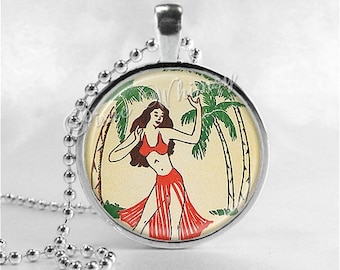 HULA GIRL Necklace Pendant Jewelry, Vintage Hawaiian Hawaii Hawaiian Islands, Tropical Islands, Tiki Jewelry, Polynesian Palm Trees