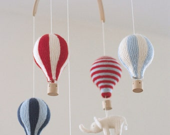 baby mobile - hot air balloon mobile -  red/blue  mobile - nursery mobile