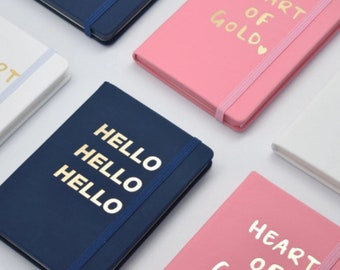 A6 Pink/ White/ Navy Blue & Gold Foil Hardcover Notebook with Elastic band Closure, Inspirational Stationary, Grid/ Line inner pages