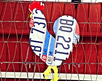 Upcycled Ohio License Plate Chicken Rooster Wall/Coop Art