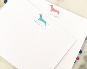 Dachshund Stationery -  Personalized Dog Stationary Set of 20 Flat Note Cards