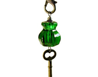 Repurposed Antique Long Key Necklace, Emerald Green Glass, Gunmetal, Upcycled Jewelry Pendant