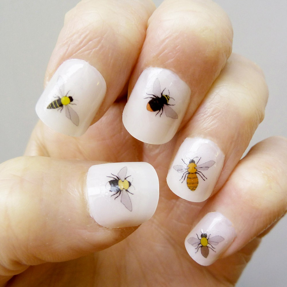 Bee nail transfers handmade illustrated nail art decals zoom prinsesfo Image collections