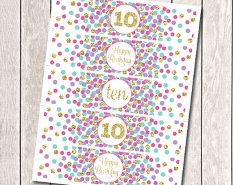 Birthday Party Water Bottle Labels 10th Birthday Party Decorations Girl Birthday Party Pink Purple Aqua Gold INSTANT DOWNLOAD