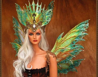 Adult Fairy Wings and Crown**Iridescent White/Teal/Gold**FREE SHIPPING**Cosplay/Masquerade/Bridal