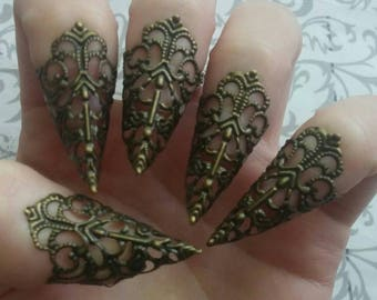 Bronze Witch Claws // Set of 5 // Nail Armor