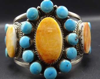 NAVAJO Sterling Silver ORANGE Spiny Oyster Shell & TURQUOISE Cuff Bracelet 116g