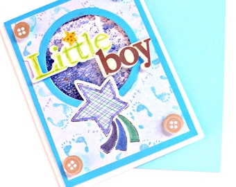 Shaker cards, Baby shower boy, baby card, new baby card, baby boy card, baby congratulations card, welcome baby card boy, new baby boy